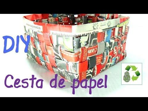 8. Manualidades Como hacer cesta con papel periódico Reciclaje Ecobrisa