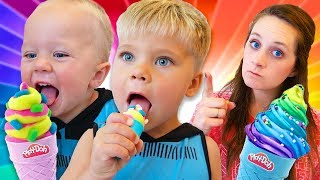 DON'T EAT UNICORN POOP PLAY DOH ICE CREAM! Bad kids tries to eat Play-Doh!