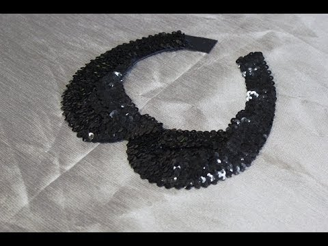 Cuello Peter Pan DIY lentejuelas negro How to make Peter Pan Necklace with sequin