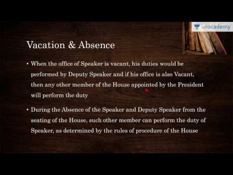 Unacademy Polity lecture for IAS:  Speaker Of Loksabha: Appointment, Removal And Powers