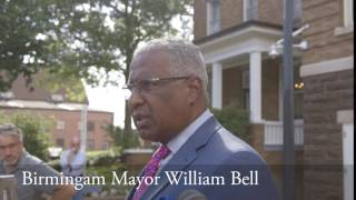 Birmingham Mayor William Bell speaks on the confederate monument.