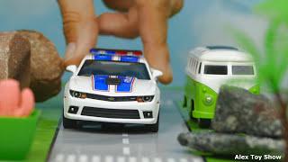 Мультик про машинки - 206 серия:  Полицейская погоня, Гоночная машина, Авария, Супер Мэн