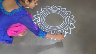 Saraswati puja special Alpana designs //  Easy rangoli Desiogns // kolam designs // muggulu designs