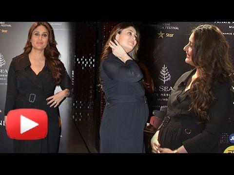 Pregnant Kareena Kapoor Shows Off HUGE BABY BUMP At MAMI Festival 2016 - UNCUT