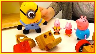 Minions TOY SHOP! - Peppa Pig - EXCAVATORS and TRACTORS Toys for Kids. Videos for kids