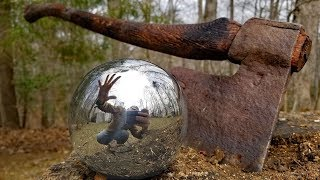 CUTTING OPEN a polished aluminum foil ball - Sawing and chopping 2 aluminium balls.