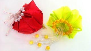 Елочная игрушка Медуза, игрушка на елку новогодний шар канзаши из атласных лент своими руками МК