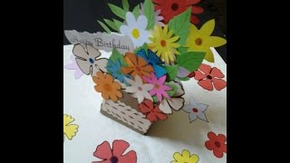How to make Pop up Gift Box of flowers Card tutorial for beginners #5