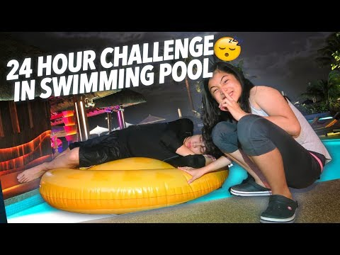 24 HOUR CHALLENGE IN SWIMMING POOL! | Ranz and Niana