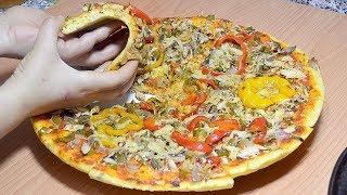بيتزا دقيق القمح الصحية بعجين بدون نقطة زيت ولا زبدة ولا خميرة حلويات أهش من القطن مذاق ولا أروع