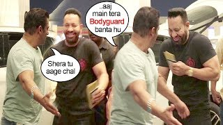 Salman Khan Makes FUN Of His Bodyguard Shera Publicly At Mumbai Airport