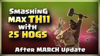 Smashing MAX TH11 with 25 HOGS | TH11 War Strategy #208 | After MARCH Update | COC 2018 |