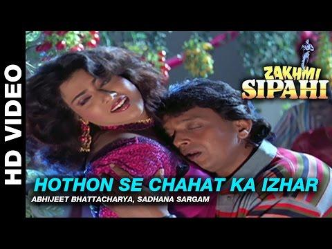Hothon Se Chahat Ka - Zakhmi Sipahi | Abhijeet Bhattacharya & Sadhana Sargam | Mithun Chakraborty