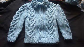 جاكيت تريكو بغرزة ضفيرة القلوب من عمرشهر لسنة القسم 2 Knitting for baby jacket