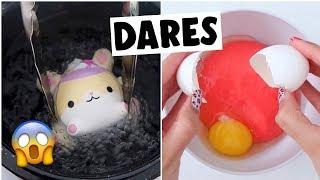 EXTREME SLIME & SQUISHY DARES?! *making egg slime*