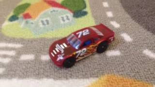 Hot Wheels race car on city track trailer