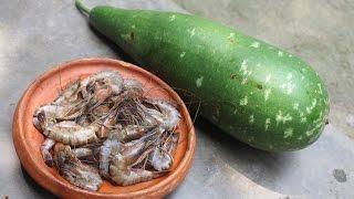 Village Food | Lau chingri recipe | Grandmother recipes-41