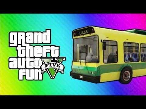 GTA Online Funny Moments Home Run Vehicle Glitch Fun Banana Bus Launch Vanoss Bus