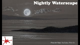 How to Draw a Night Waterscape With the Moon