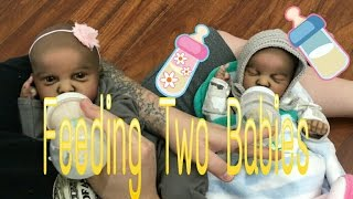 TWINS! FEEDING TWO BABIES! BABY STARTS CRYING! BABY SNEEZES! REBORN BABY DOLL TWINS FAKE BABIES