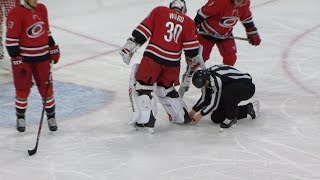 Alex Goligoski earns strange goal after puck gets caught in Cam Ward's skate