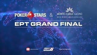 Main event EPT Grand Final 2016, finálový stůl - živý poker (s odkrytými kartami)