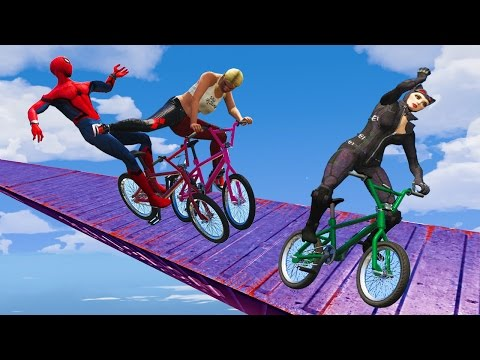 EXTREME RACES! (Funny Superhero Contest Videos w Harley Quinn Joker Spiderman BMX CARS Motorcycles)