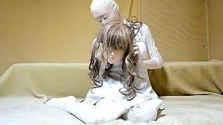 female mask kigurumi doll white latex boots & dress zentai girl