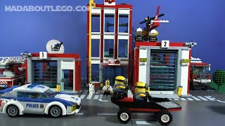 LEGO Police Fire Cars Minions Mad Chase!!!!