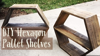 DIY PALLET HEXAGON WALL SHELVES - HOW TO MAKE