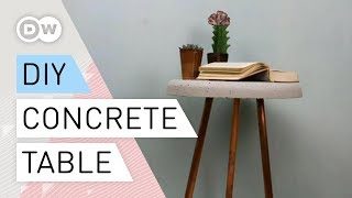 DIY - Concrete table with copper-pipe legs