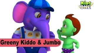 GREENY KIDDO in Trouble Need Help Saved by JUMBO Elephant   Funny Episode For Kids - KidsOne