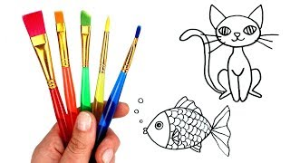 Drawing & Painting with Surprise Toys How to Draw Animals Cat Dog Fish Hedgehog Duck Fun for Kids