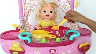 Baby Alive Sara minha boneca Ganha Brinquedo Novo playset 3 em 1 toma Banho Cozinha e Muito mais!!!