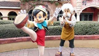 Pinocchio and Gepetto Dance for Us at Disneyland Paris, Meet and Greet - Fantasyland Character Fun