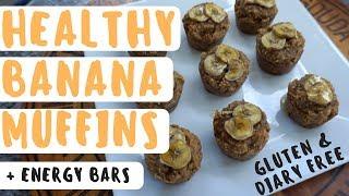 Healthy Banana Muffins & Energy Bars (GF, DF + Refined sugar FREE)