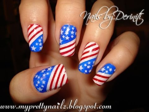 watch Patriotic 4th of July Independence Day USA American Flag Stars & Stripes Nail Art Design Tutorial