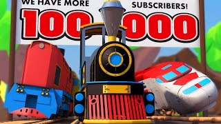 Cartoon about Cars & Race Trains Warfare at 100 000 Subscribers VIDEO FOR CHILDREN