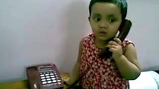 Bangla kid funny video   baby girl talking over phone 18082010