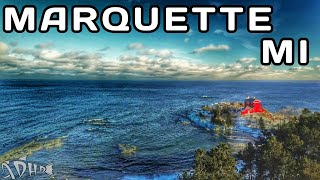 Marquette MI Winter. Breathtaking Drone footage of Lake Superior Ice and Waves