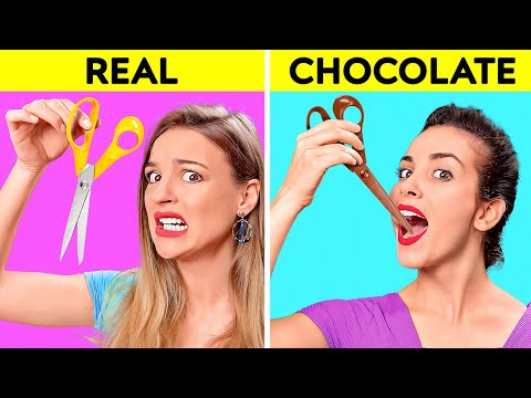 REAL VS CHOCOLATE FOOD CHALLENGE Last To STOP Eating Wins Taste Test by 123 GO CHALLENGE