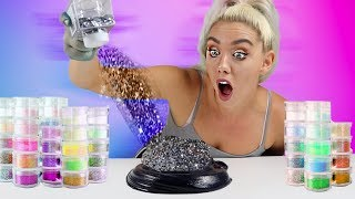 MIXING 100 BOTTLES OF GLITTER INTO BLACK GLOSSY SLIME | SO SATISFYING UGH!