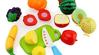 Toy Cutting Fruit Velcro Cooking Playset Fruit Salad Wooden and Plastic