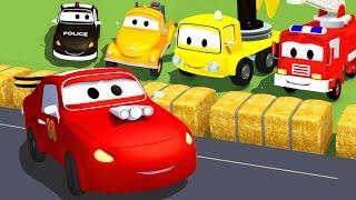 Mobil patroli : Truk Pemadam Kebakaran dan Mobil Polisi dan Mobil Balap di Kota Mobil | Kartun Mobil