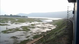 Chilka Lake and Eastern Ghats at Sunset: View from the Falaknuma Express at Top Speed of 110 kmph