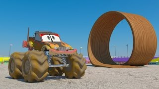Monster Trucks | Wheels on the bus go round and round | Nursery rhymes