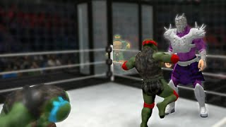 Raphael vs Michelangelo vs Leonardo vs Donatello vs Splinter vs Shredder - TMNT(WWE 2K14)