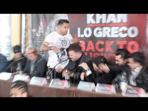 MAYHEM!! AMIR KHAN FLIPS OUT & THROWS GLASS OF WATER OVER PHIL LO GRECO AFTER HE INSULTS HIS WIFE!!