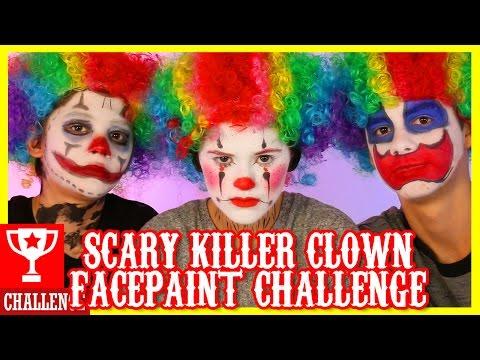 SCARY KILLER CLOWN!  FACE PAINT CHALLENGE!  |  KITTIESMAMA