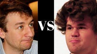 Magnus Carlsen: Black vs Luke Mcshane - English Opening - Knight sacs! - Brilliancy!